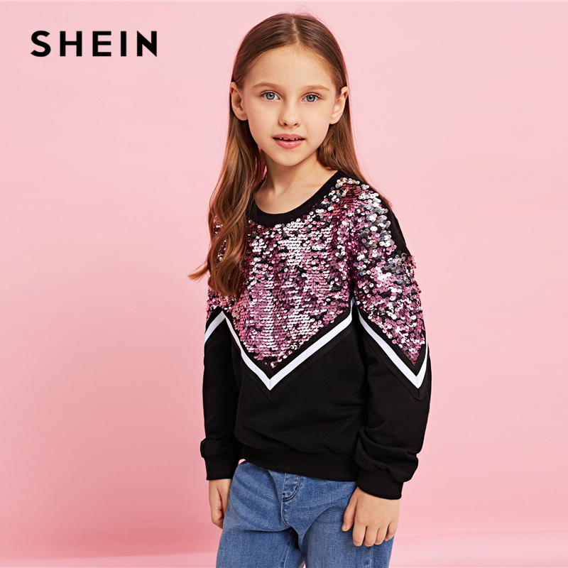 Image 4 - SHEIN Kiddie Contrast Sequin Casual Pullover Sweatshirts For Girls Tops 2019 Spring Korean Long Sleeve Kids Teenager Clothes-in Hoodies & Sweatshirts from Mother & Kids