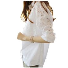 2019 White Embroidery Blouse Women Shirt Plus Size Casual ladies long sleeve Womens Tops and Blouses 3XL 4XL Hollow Out AA026S50