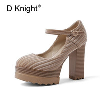 D Knight Brand Women Pumps Plus Size 32 42 Buckle Strap Office Lady Platform Blcok High Heels Shoes Flock Round Toe Woman Shoes