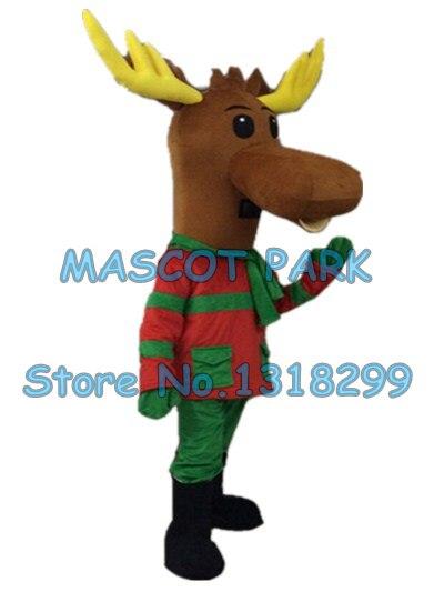 Reindeer Mascot Costume Big Head Moose Christmas Fancy Dress Adult Outfit
