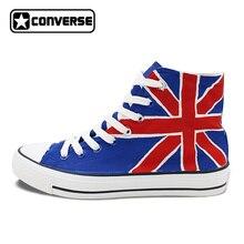 Пользовательские Converse All Star Великобритании британский флаг Юнион Джек ручной росписью обувь высокие холщовые кроссовки Для мужчин Для женщин рождественские подарки
