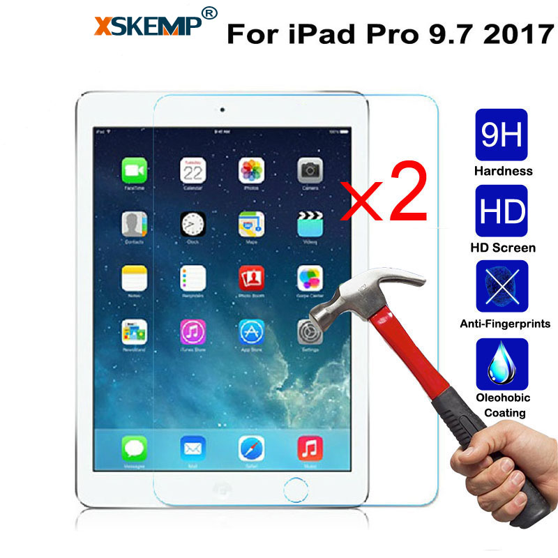 XSKEMP 2Pcs/Lot Anti-shatter Tempered Glass Film For Apple iPad Pro 9.7 2017 Scratch-Resistant LCD Tablet Screen Protector Film цена и фото