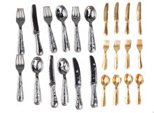 1/12 Dollhouse Miniature Stainless Steel Tableware Set 12 Pcs Classic Pretend Play Kitchen Furniture Toy for Children Doll(China)
