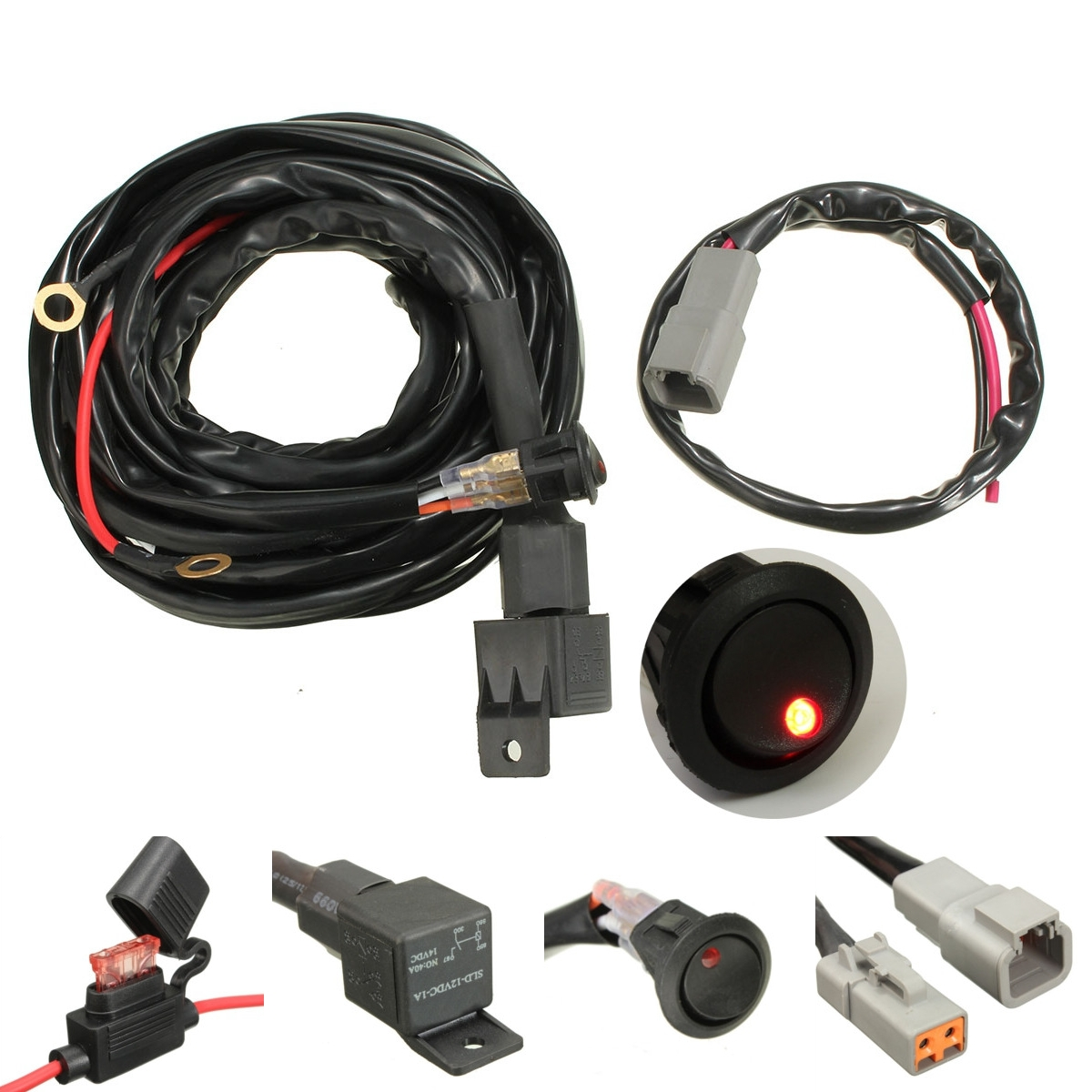 US $13.8 44% OFF|12V 40A Switch Relay Wiring Harness Kit For LED Spotlights on wiring light kit, wiring thermostat, fan kit, wiring tools kit, air bag kit, timing belt kit, bumper kit, headlights kit, transmission kit, timing chain kit, exhaust kit, hose kit, coil kit, fuel line kit, strat wiring kit, oil cooler kit, wiring connector kit, car wiring kit,