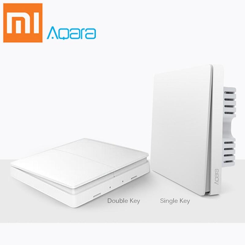 Xiaomi Aqara Wall Switch Wireless Smart Remote Light Control Mijia Single Double Key Smartphone APP Control ZigBee Version Mi цена и фото
