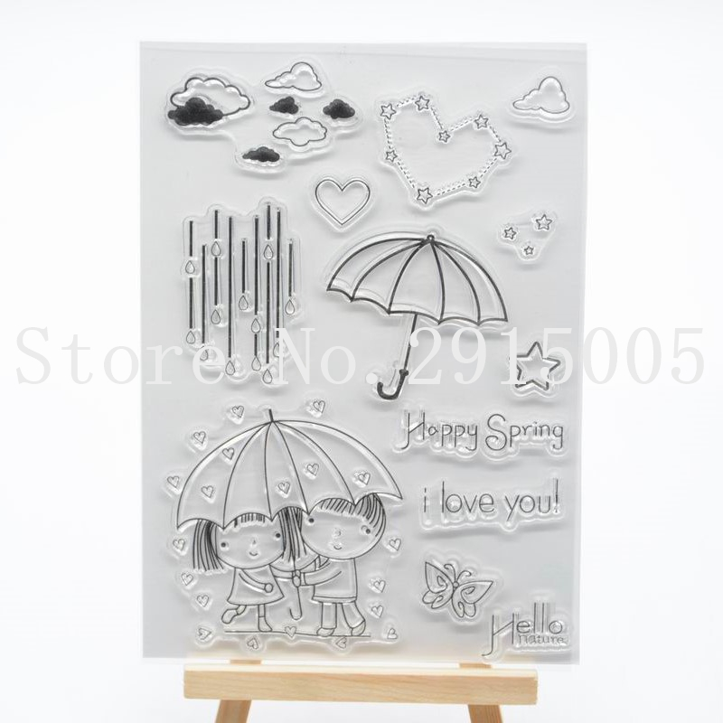 US $2 95 10% OFF|Umbrella Scrapbook DIY photo cards account rubber stamp  clear stamp transparent stamp 11x16cm CS2156-in Stamps from Home & Garden  on