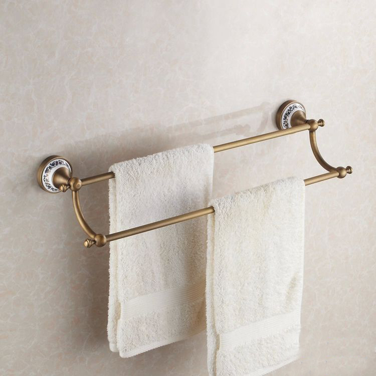 Towel Bars Brass Antique Blue And White Porcelain Bathroom Accessories Double Fashion Antique Towel Double Holder  HJ-1811