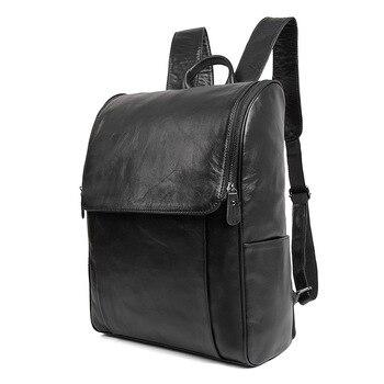 Nesitu Vintage Coffee Black Gray Real Skin Genuine Leather 14'' Laptop Women Men Backpacks Cowhide Male Man Travel Bags M7344