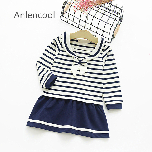 Anlencool Autumn Girls Dress  New Preppy Style Girls Clothes Long Sleeve Lapel Bow Striped Design for Kids Clothes 3-7Y