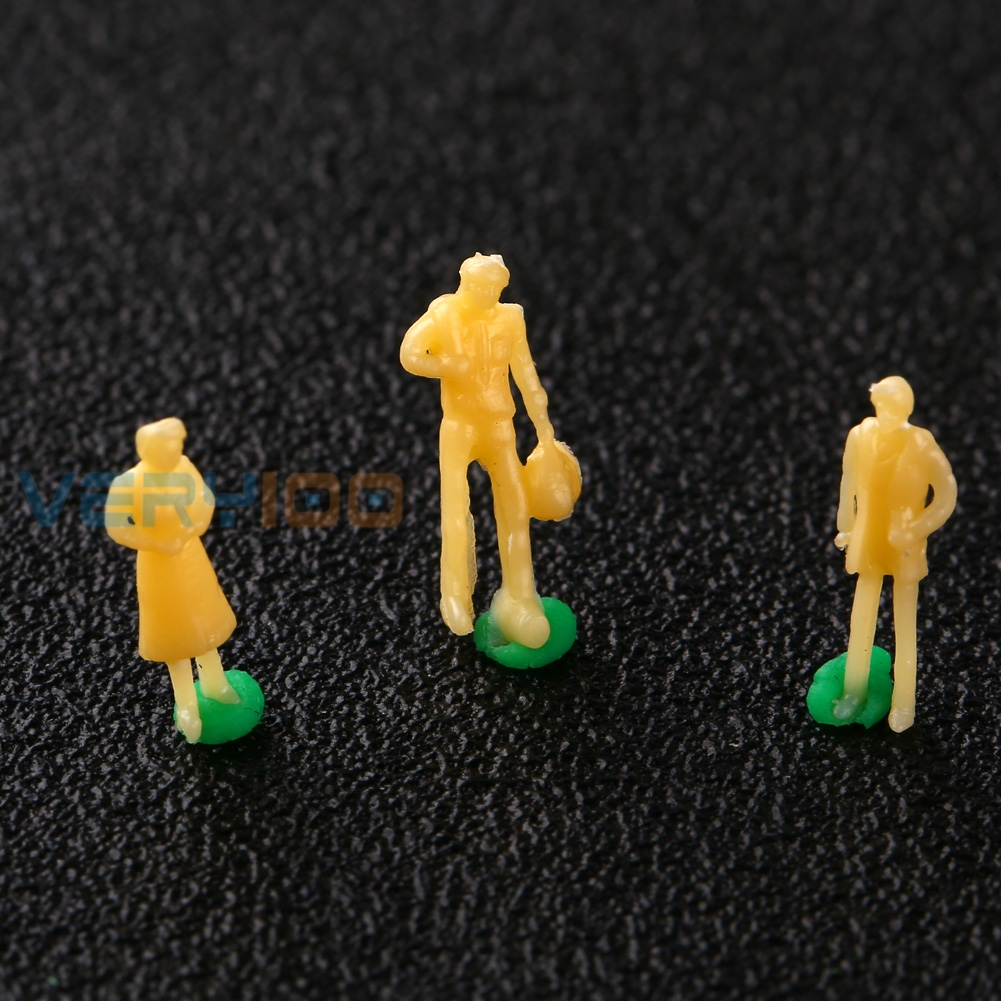 U.TECH 100Pcs Beige Model Railway Unpainted Train Street Mix Figures People N 1:150 Free Shipping