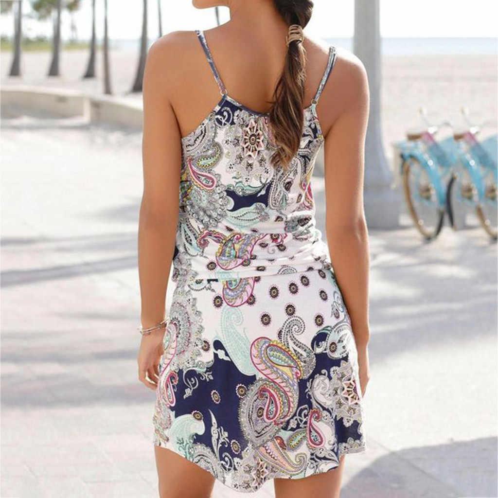 Vestidos דה verano מיני שמלת Boho סגנון פרחוני הדפסת חוף שמלת טוניקת שמלה קיצית Loose מיני המפלגה שמלת Vestidos בתוספת גודל w0619