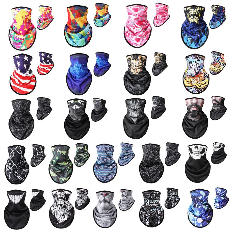 Men's Scarves 55x32cm Unisex Outdoor Triangle Scarf Colorful Face Mask Graffiti Camouflage Skeleton Printing Motorcycle Cycling Bandana Neck W