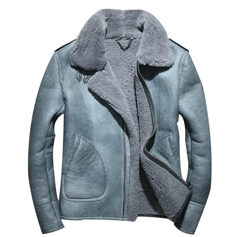 2018 Blu Uomini Biker Shearling Giacca di Pelle Plus Size XXXXL Inverno Spesso Slim Fit Genuino Russo Shearling Cappotto SPEDIZIONE GRATUITA