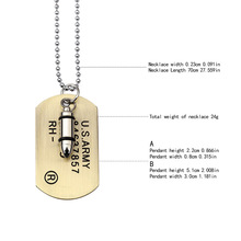 Army Bullet Dog Tag Pendant Necklace Women Men