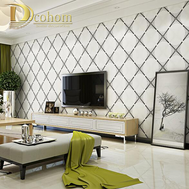 simple geometric striped tiles modern wallpaper 3d living room sofa home decor natural fiber wall paper - Decorative Wall Tiles For Living Room