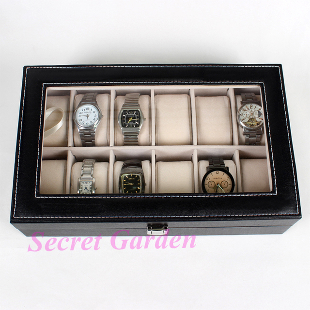 Wholesale High Quality Black Pinhole Lines Leatherette Watch Collection Box Case Jewellery Box For 12 Pcs