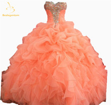 2017 New Quinceanera Dresses Ball Gowns Sweetheart Crystal Beading Lace Up Sweet 16 Dress Vestidos De 15 Anos Party Gowns QA583