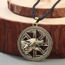CHENGXUN Slavic Amulet Wolf Totem Kolovrat Charm Vintage Amulets Men's Valknut Rune Pendant Nordic Talisman Boys Male Jewelry
