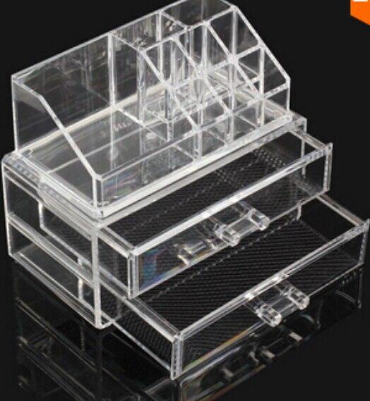 Layer 2 drawer jewelry box Acrylic Cosmetic Organizer Drawer Makeup Case Storage Insert Holder Box Free shipping Mail