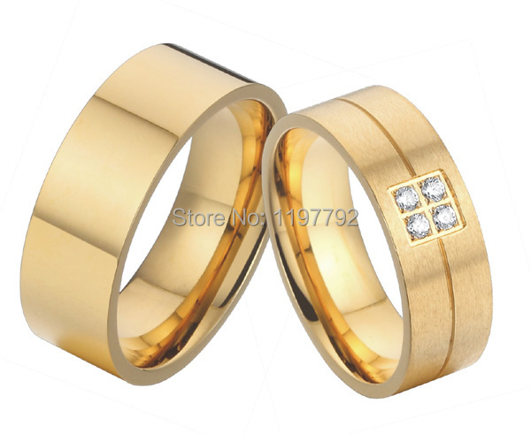 big western european style gold colour pure titanium wedding bands engagement rings sets for men and - Western Style Wedding Rings