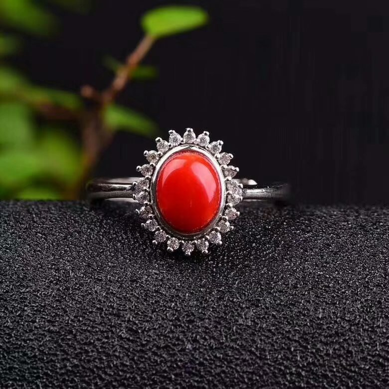 shilovem 925 sterling silver Natural red coral stud rings fine Jewelry women trendy open 6 8mm