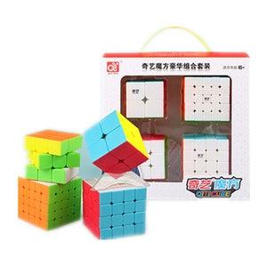Image 5 - Qiyi Xmd 4 Cubes Set Magische Kubus Set Omvat 2X2 3X3X3 4X4X4 5X5X5 Stickeless Cube Voor Brain Training Kinderspeelgoed
