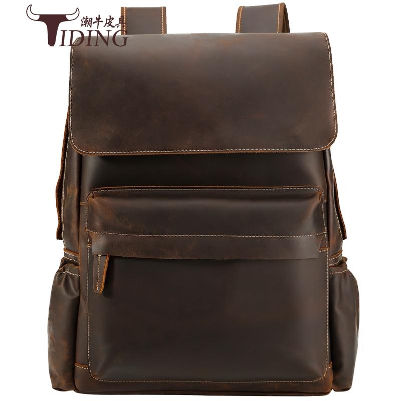 Men Travel backpack genuine leather 16 Laptop Big Brand Casual Business Casual Large School Backpacks Bags Bookbag Designer Bag