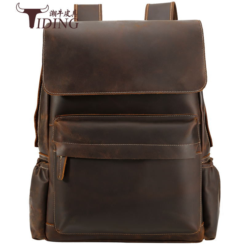 Men Travel backpack genuine leather 16