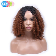 BY Hair Kinky Curly Wigs Middle Part 150% Full Density Heat Resistant Hair Black Wig Glueless Synthetic Lace Front Wig for Women(China)
