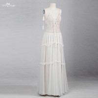 RSW1153 V Neckline Crystal Beaded Beach Bridal Gown Bohemian Style Boho Wedding Dress