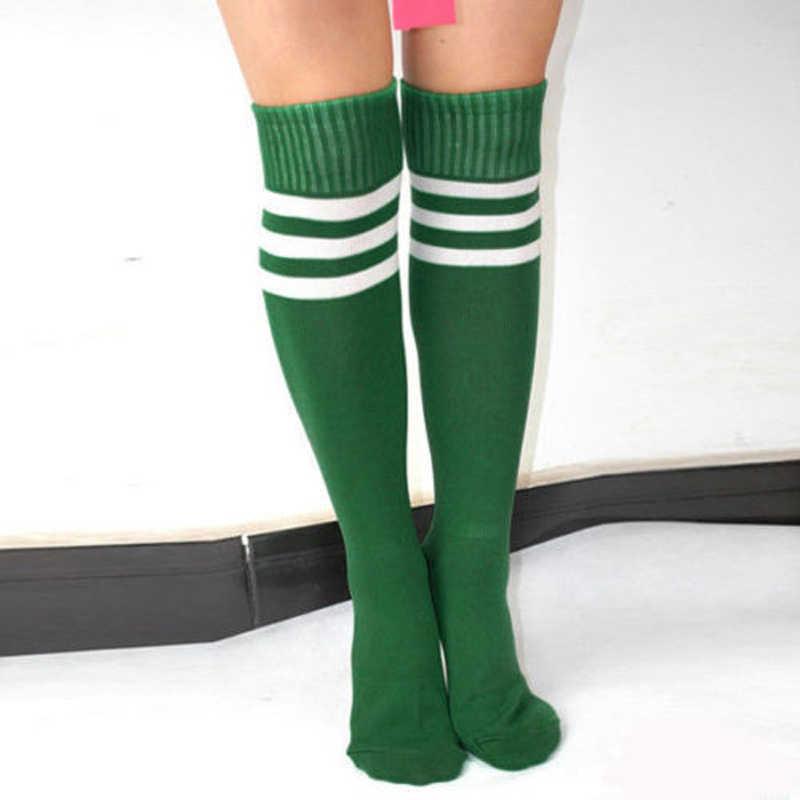 59f1095f913 ... Knee High Socks For women Girls Football Stripes Cotton Sports Old  School White Socks Skate girls