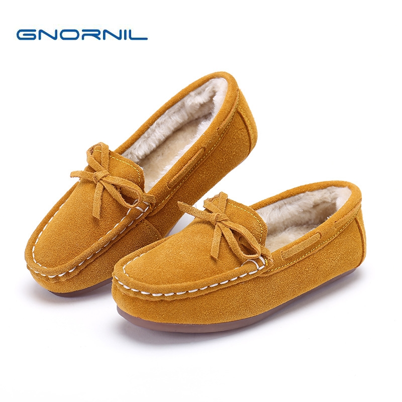 Kids Shoes Genuine Leather Boys Moccasins 2018 Winter Warm Plush Children Casual Shoes Boys Flat Comfortable Slip On Loafers