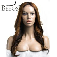 BEEOS Ombre Glueless Full Lace Wig Human Hair With Baby Hair For Women Remy Hair peruvian Human Wigs Bleacked Knots Women Wigs