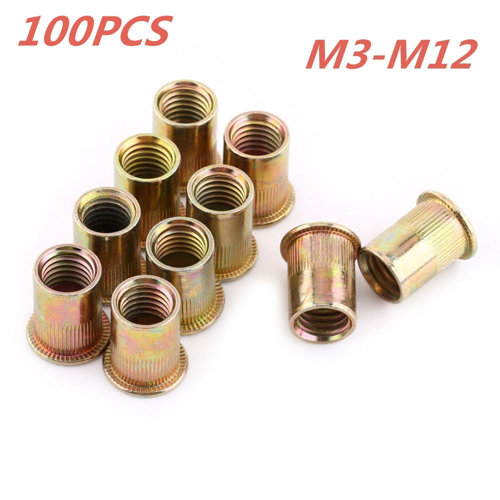100Pcs/Set Carbon Steel Rivet Nuts M3 M4 M5 M6 M8 M10 M12 Flat Head Rivet Nuts Set Nuts Insert Reveting Multi Size Collocation