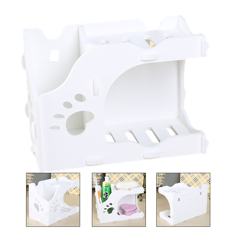Double layer Drain Kitchen Tableware Storage Box Bathroom Waterproof Soap Dish Cosmetic Toothbrush Storage Racks shelves