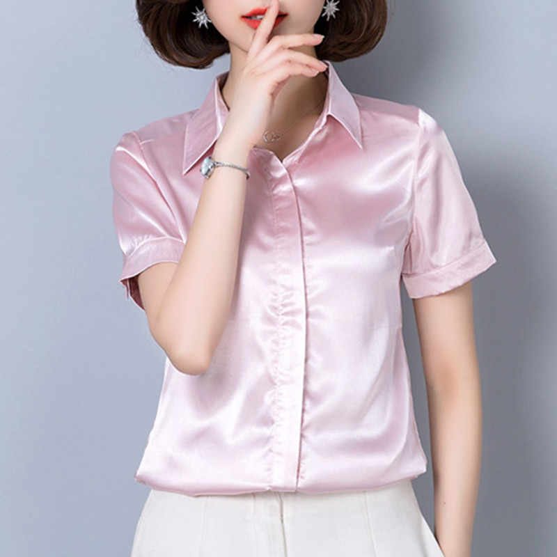 Women Tops and Blouses Summer Casual Harajuku Silk Blouse Blusas Feminina Tops Sexy Pink Shirts Plus Size XL/XXXL Ladies Tops