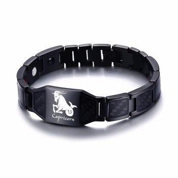 Vnox 12 Horoscope Sagittarius Symbols Power Bracelets for Men Stainless Steel Insert Carbon Fiber Heavy Punk Wristband 17