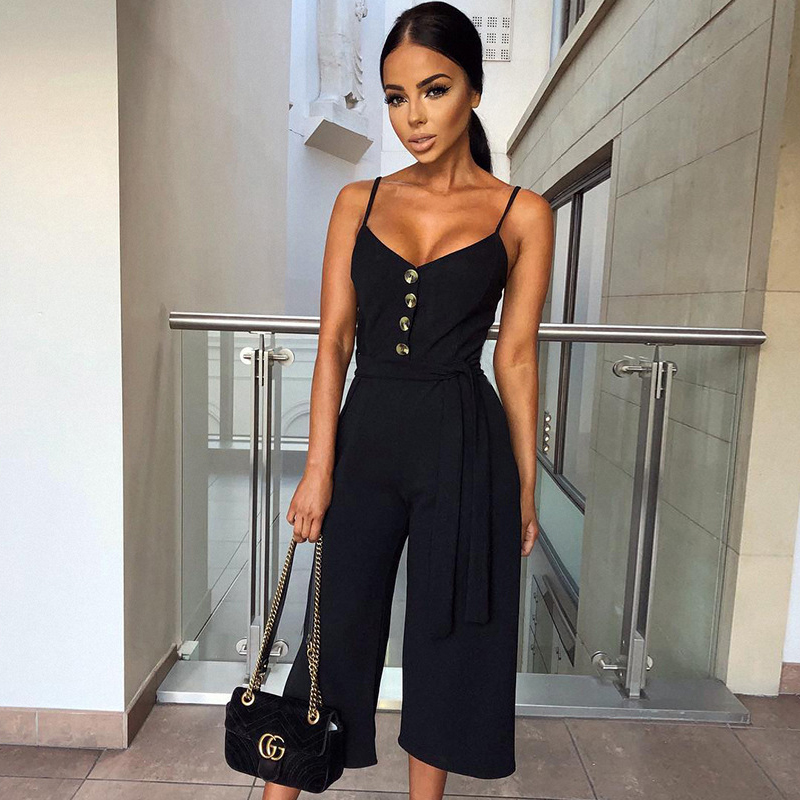 2019 Sexy Women V-Neck Off Shoulder Sleeveless Wide Leg Jumpsuit Lace-Up Button Backless Playsuit Beach Boho Chic Tunic Rompers