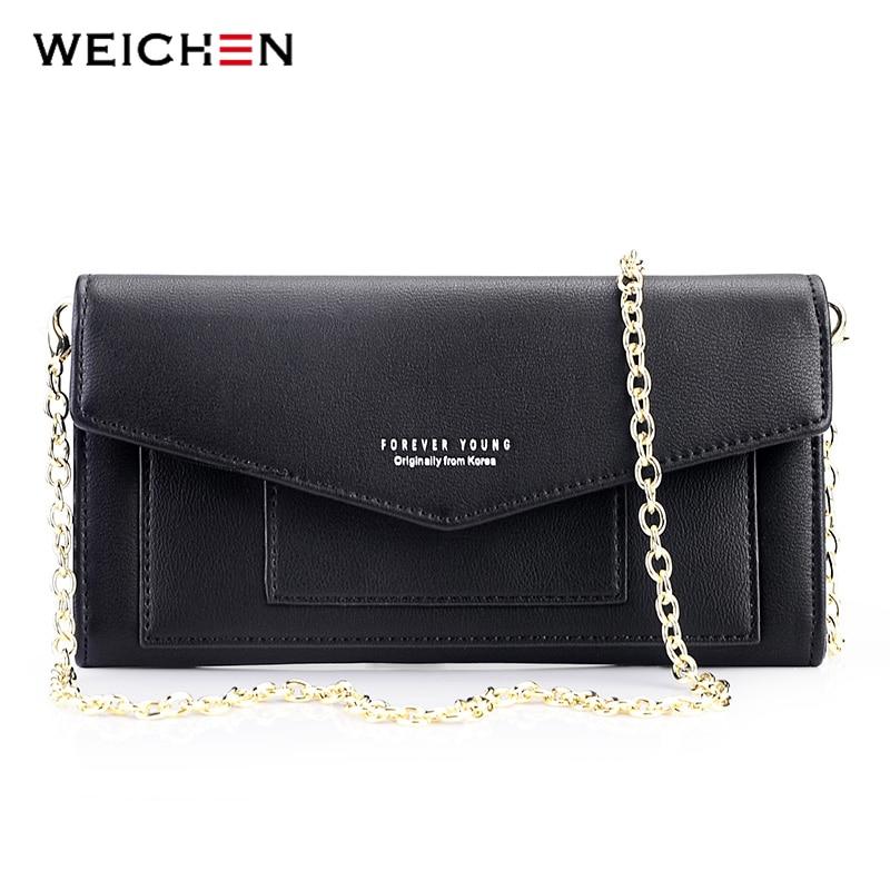 WEICHEN New Envelope Designer Mini Women Crossbody Bag Ladies Chain Shoulder Messenger Bags Long Clutch Wallets Purses Wristlet