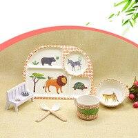 5pcs/set children baby tableware set Bamboo fiber Health environmental dinnerware set the best gift for your baby