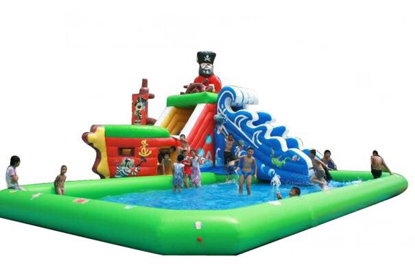 Inflatable Large Swimming Pool and Slide for water park 2017 popular inflatable water slide and pool for kids and adults
