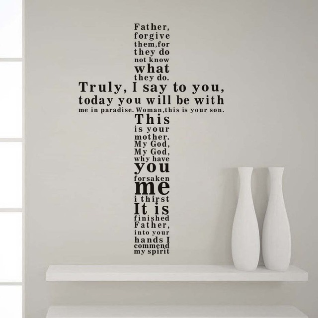 father forgive them shaped cross bible verse vinyl wall decal self
