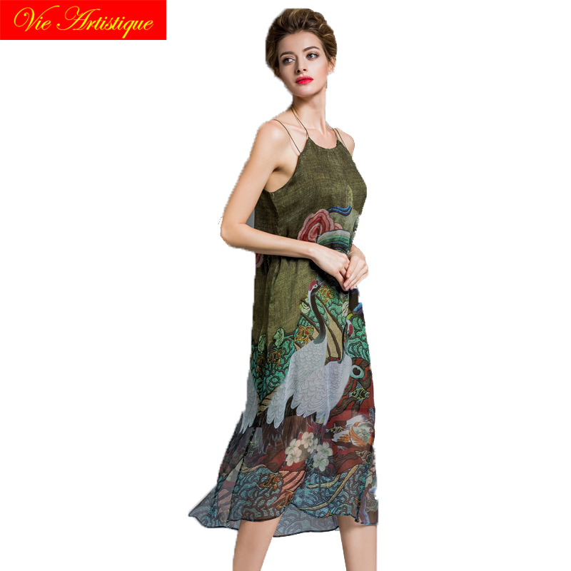 silk grey floral summer beach dress 2018 women halter dress Suspenders casual dresses large plus size long party elegant loose