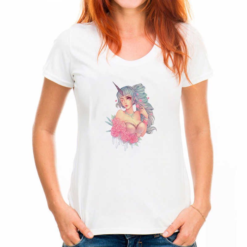 Donne di Modo di estate T Shirt di Mattoni Grigio Bianco Verde Harajuku Unicorn Shirt Feather Stampa Manica Corta O-Collo T-Shirt Magliette Magliette e camicette