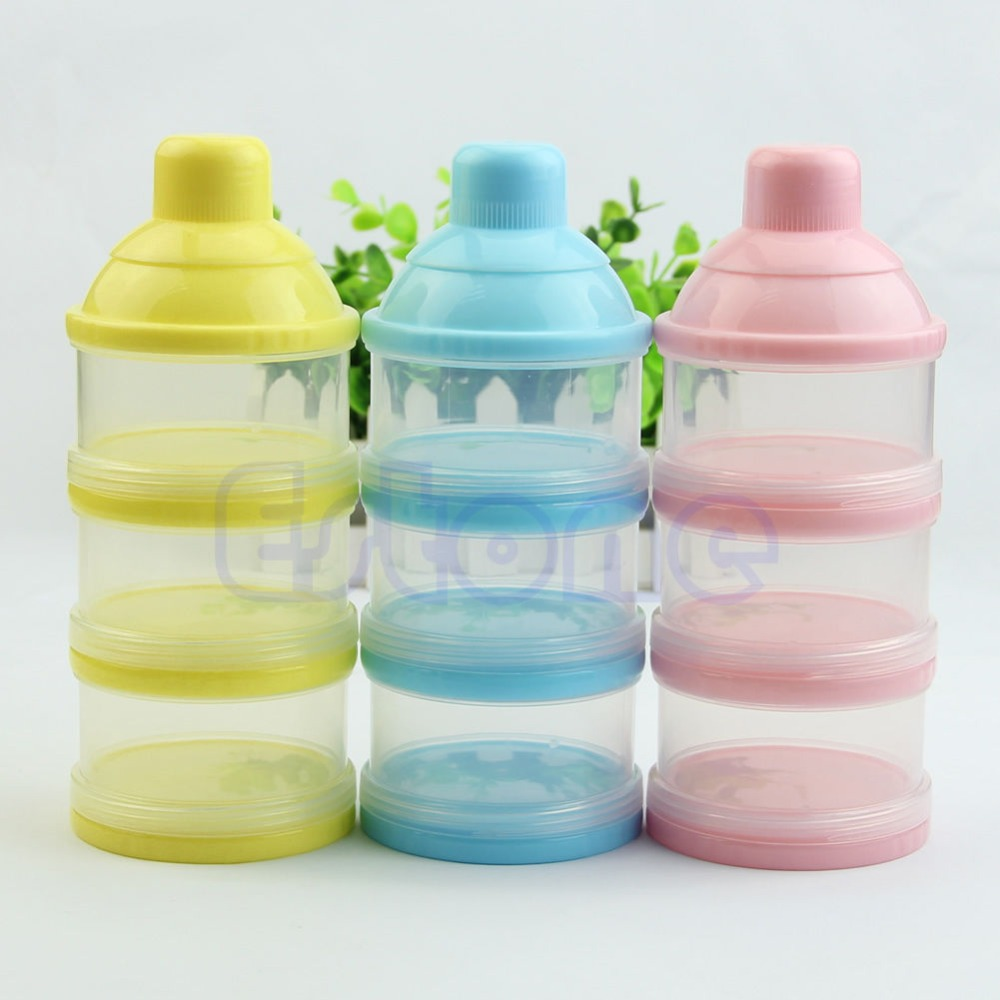 Free shipping Portable Baby Infant Feeding Milk Powder &Food Bottle Container 3 Cells Grid Box