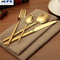 KTL 24 Pcs Gold Dinnerware Set Top Quality Stainless Steel 6 Dinner Knife and 6 Fork and 6 Spoon 6 Teaspoon Gold Cutlery Set