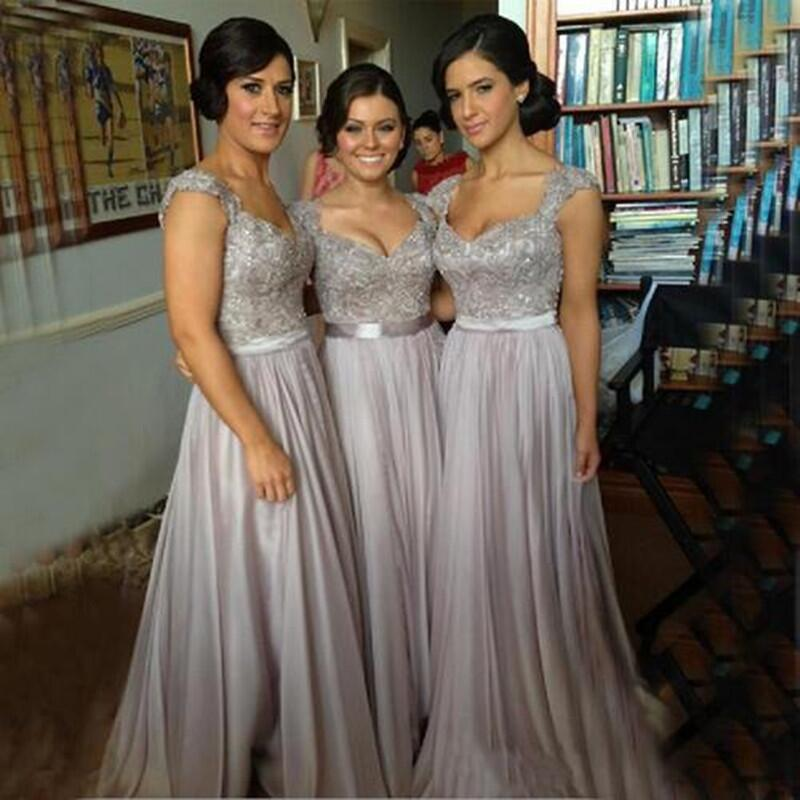 2019 Custom Made Sexy A-line Cheap Sheer Back Embroidery Beads Ruched Capsleeve Floor-length Chiffon Gray   Bridesmaid     Dresses