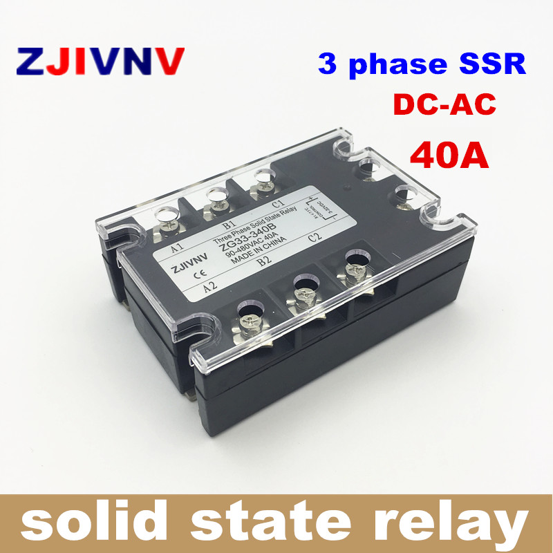 40A DC control AC three phase Solid state relay 3 phase SSR 40DA ZG33-340B 12V RELAY ssr40da small solid state relay 24v 12v control 220v dc control ac 40a