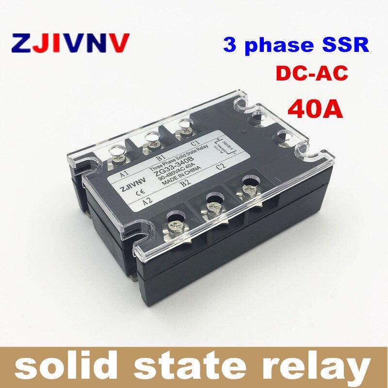 цена на 40A DC control AC three phase Solid state relay 3 phase SSR 40DA ZG33-340B 12V RELAY
