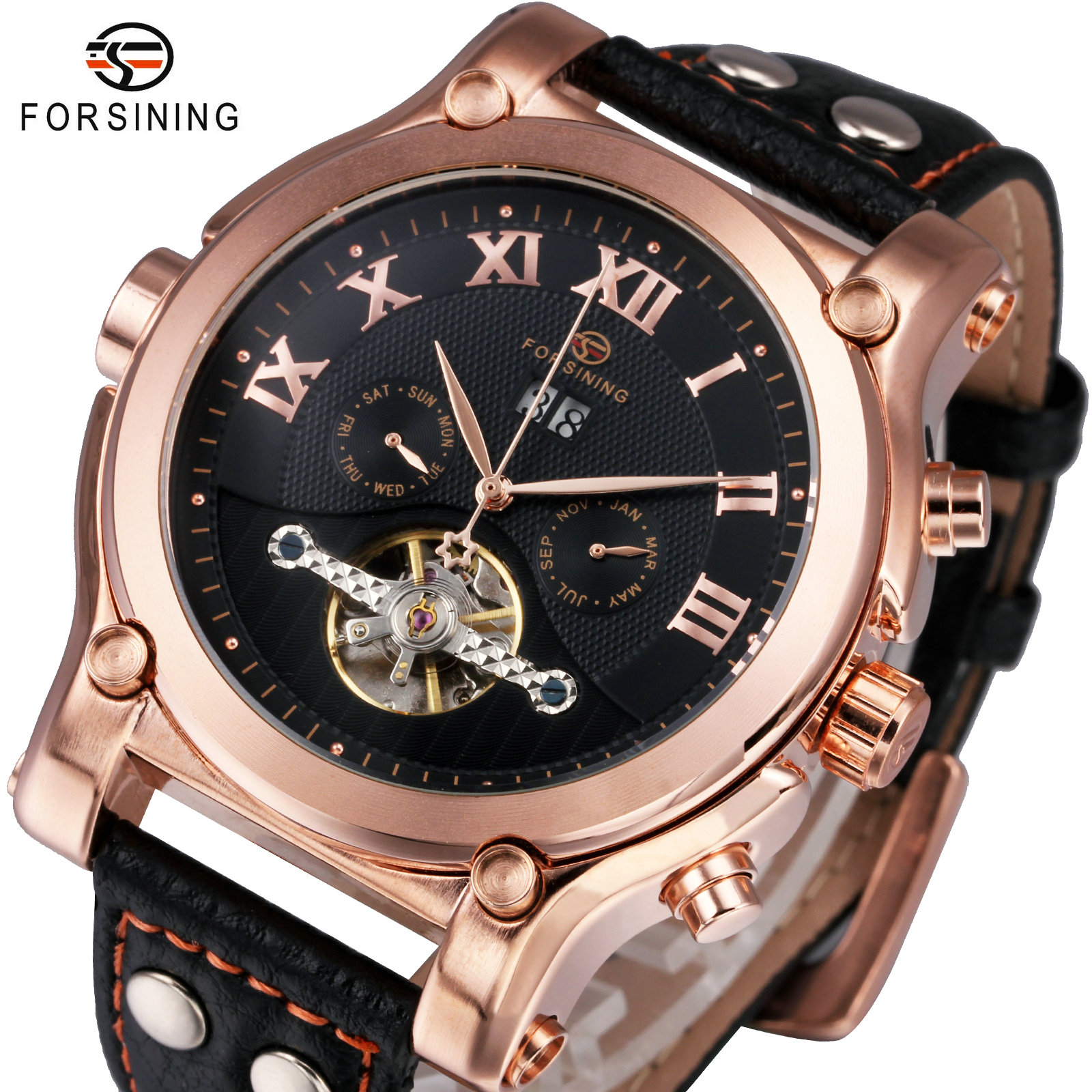 FORSINING Top Brand Luxury Tourbillon Watch Men Automatic Mechanical Roman Numerals Watches Royal Rose Golden Case Leather Strap все цены